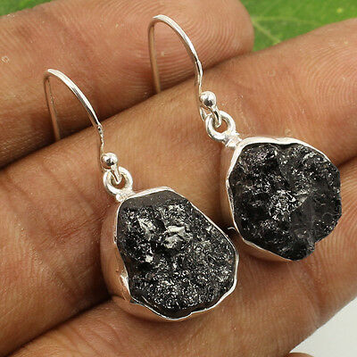 """925 Sterling Silver Jewelry 1 1/8"""" Earrings Natural BLACK TOURMALINE Rough Gems"""