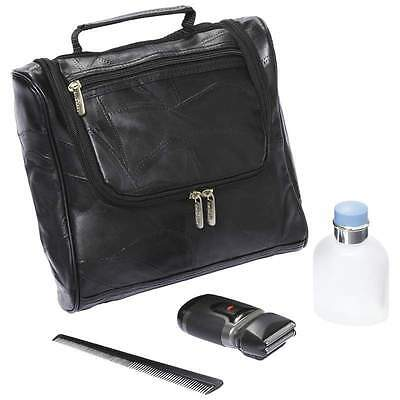 Leather Toiletry Bag Travel Lambskin Men or WOMEN'S Black Cosmetic Makeup Kit