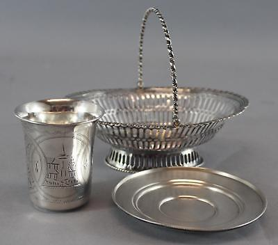 Sm Antique English Sterling Reticulated Basket & Russian .84 Silver Cup Saucer
