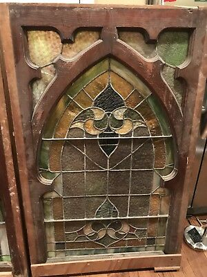 Pair of matching antique Stained glass  church windows