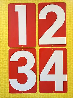 Vintage Lot 4 Two Sided Red & White Metal Gas Station Numbers Sign