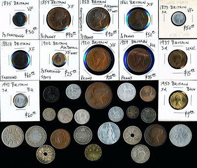 34 Old  British Silvers & Coppers (Better Odd Lot) See Pictures > No Reserve