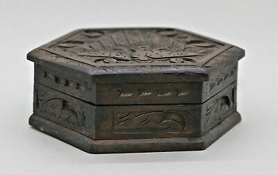 Rustic Antique Hand Carved Hexagonal Indonesian Wooden Box Excellent Condition