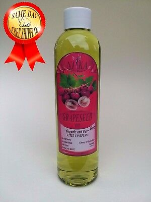 Grapeseed Oil Organic Cold Pressed 100% Pure 8 Oz