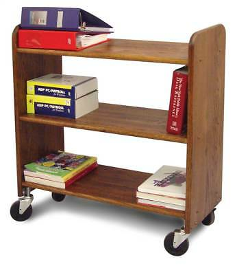 Library Book Truck w Flat Shelves in Walnut Stained Birch [ID 23790]