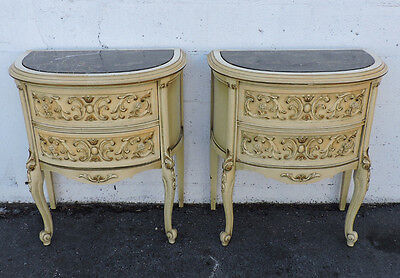French Pair of Marble Top Tall Commode Nightstands End Side Tables 8173