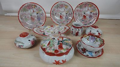 China from japan salt pepper shakers small plates toothpick holder sugar bowl