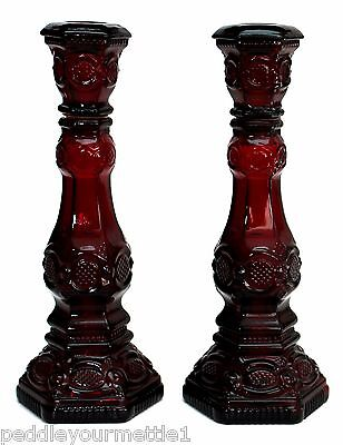 Vintage Pair Avon 1876 Cape Cod Ruby Red Candlesticks In Box (2) EUC