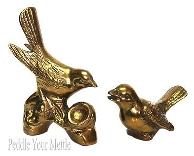 Set of 2 Vintage Brass Sparrow Bird Figurines Paperweights EUC