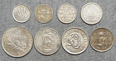 Lot Of 8 World Silver Coins