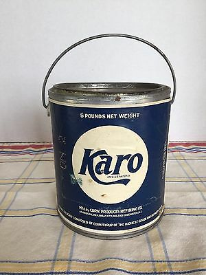 Vintage Karo Syrup 5 Pound Tin Can With Handle Blue & White Paper Label