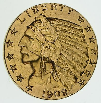 1909 $5.00 Indian Head Gold Half Eagle - Circulated *3904
