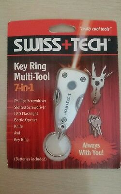 Genuine swiss+tech key ring multi tool 7 in 1