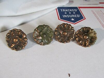 4  Vintage Cabinet Drawer Pulls Knobs Handles Brass Flower Floral 1960  DIY#1