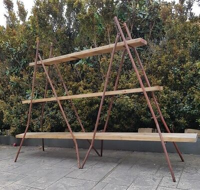 Rustic Industrial Shelving Unit Reclaimed Timber And Paint Ladders