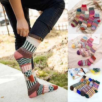 5 Pairs Women Wool Cashmere Warm Soft Thick Casual Multicolor Winter Socks