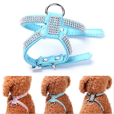 Pet Dog Cat Collar Harness Chest Strap Belt Collar PU Leather Bling Sparkling