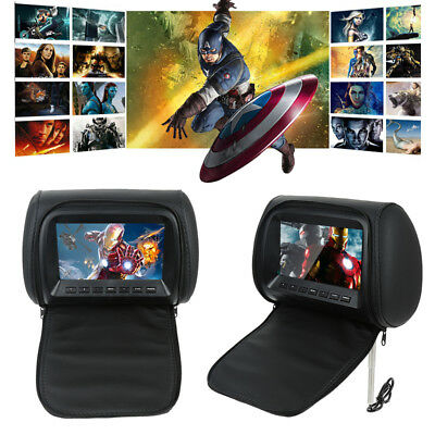 """2x7"""" HD Car Headrest Monitor with Built-in DVD Player USB Digital Screen+Remote"""