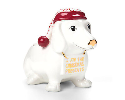 Exclusive Dachshund Wiener-Dog Holiday Christmas Cookie Candy Jar, Earthenware