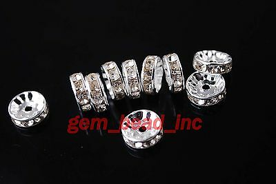 50Pcs Austria Crystal Rhinestone Rondelle Beads Spacer Finding4//5//6//8//10//12mm