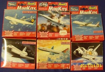 6 alte Revell Mini Kits 2x Space Shuttle, Concorde, Boeing 747/767, Airbus A320