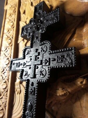 Unique Antique Wood Cross Rare Made from Bog Oak Carved Reproduction