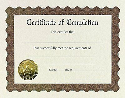 """Great Papers! Certificate of Completion, Pre-Printed, Gold Foil, Embossed, 8.5"""""""