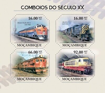 Trains of the 20th Century USA/Germany/New Zealand Stamp Sheet (2011 Mozambique)