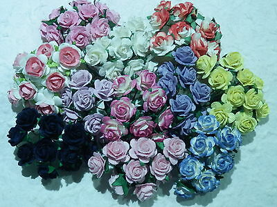 110 x 15mm PAPER ROSES Mixed Colours MPRO15Xb for Cards Wedding Stationery NEW