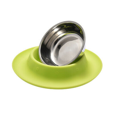 Pet Dog Cat Feeder Bowl Stainless Steel No Spill Silicone Mat Food Water Bowl
