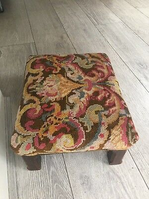antique victorian small needlepoint foot stool