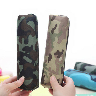 Camouflage Pencil Case Pen Student Stationery Cosmetic Makeup Pouch Zipper Bag