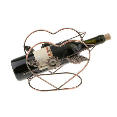 Heart Iron Wine Rack Champagne Bottle Holder Storage Bracket Stand Copper