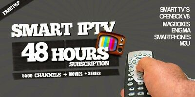 48 Hour Smart Iptv 3rd Subscription 5500 Channels in 2 Minutes movies+series