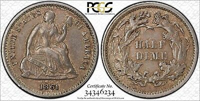 "*VERY NICE & SCARCE 1861 ""1/0"" SEATED LIBERTY HALF DIME - XF-45 by PCGS*"
