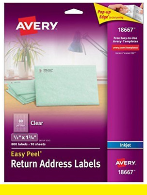 """Avery 18667 Clear Address Labels 1/2"""" x 1-3/4"""" Easy Peel 800 Labels /10 Sheets"""