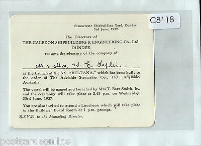 C8118cgt Ship Launch of SS Beltana Adelaide Steamship Invitation 1937 Card