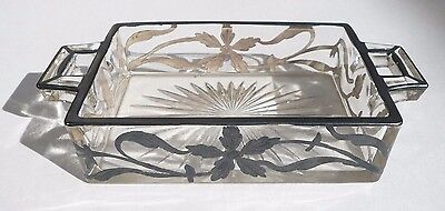 Vintage Art Nouveau Glass Tray With Silver Overlay - Estate find