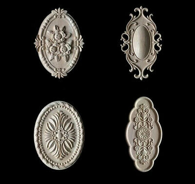 1PC Oval Wooden Carved Applique Corner Onlay Furniture Craving Unpainted