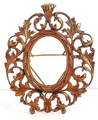 "Antique Ornate Cast Brass Oval Picture Frame With Easel Back, 9"" X 11"""