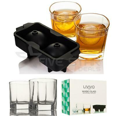 2 /4 Whiskey Glasses Gift Glass Set W Ice Ball Mould Whisky Tumblers Xmas Gift