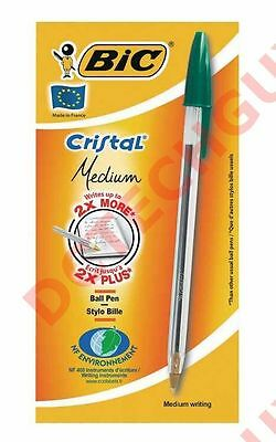 (Ae&)  Bic Cristal Crystal Dark Green Ball Point Pen - Made In France - Lot Of 5