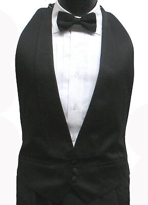 Black Satin Open Back/Backless Tuxedo Vest & Bow Tie Wedding Prom XL(48-54)