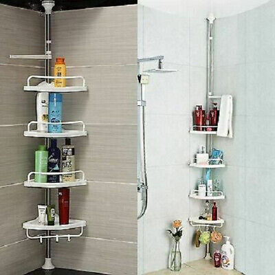 4Tier Adjustable Bathroom Organiser Corner Shower Shelving Unit Rack Caddy Self