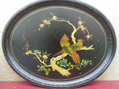 ANTIQUE VINTAGE LARGE BLACK TOLE TIN TRAY HAND PAINTED Birds FLORAL Oval