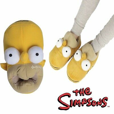 Mens Homer Simpson 3D Novelty Head Shaped Novelty Slippers Shoe Sizes 7-12 Gift