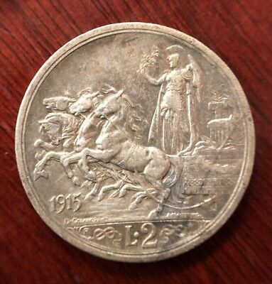 1915 Italy 2 Lire Silver Collectible Coin