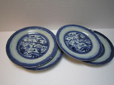 Four Antique 18th C Chinese export porcelain Canton Blue and White Plates