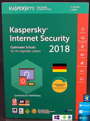 Kaspersky Internet Security 2018 Vollversion 3 Geräte PC/Mac/Android + Anleitung