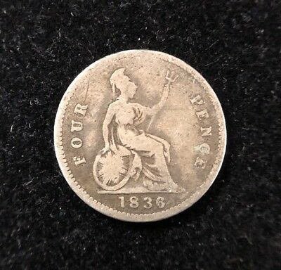 1836 Great Britain 4 Pence Silver Collectible Coin
